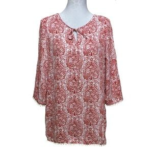 NWT Crescent Printed Tunic With Crochet Trim